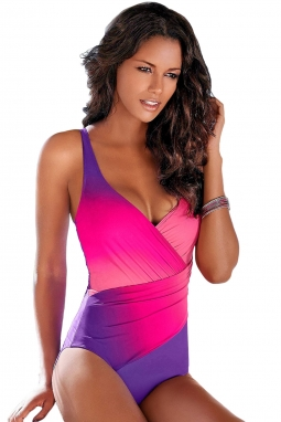 Purple Ombre Tie Dye Wrap Front Teddy Swimsuit LC410700