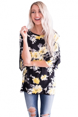 Mid Length Bell Sleeve Black Yellow Floral Blouse LC251169