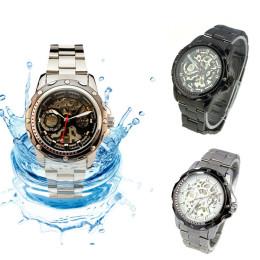 Milky 1X Pierced Stainless Steel Band Men Skeleton Automatic Mechanical Waterproof Watch Relojes Hombre JAN20