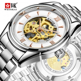 Genuine Weisikai Mens Business hollow automatic mechanical watches manufacturers selling custom waterproof