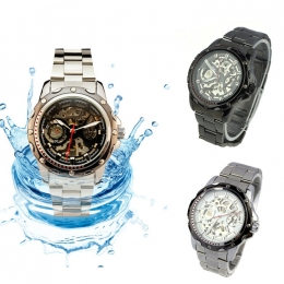 Milky 1X Pierced Stainless Steel Band Men Skeleton Automatic Mechanical Waterproof Watch Relojes Hombre JAN20