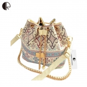 USUN Promotion Hot Women Chains Fashion Bucket Bag Canvas Patchwork Houndstooth Brand Messenger Bag Bolsas BS391