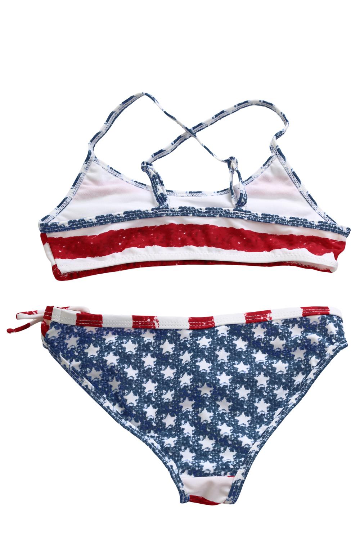 星星条纹印花荷叶边女童比基尼泳装 TZ410002