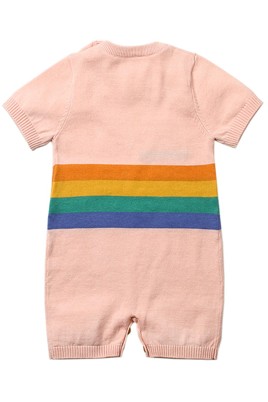 粉色可爱的害羞太阳图案针织T恤婴儿哈衣 TZ18041