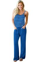 海军蓝条纹松紧系带连身裤
