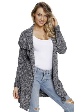灰色开襟长袖有口袋中长款女式针织开衫外套