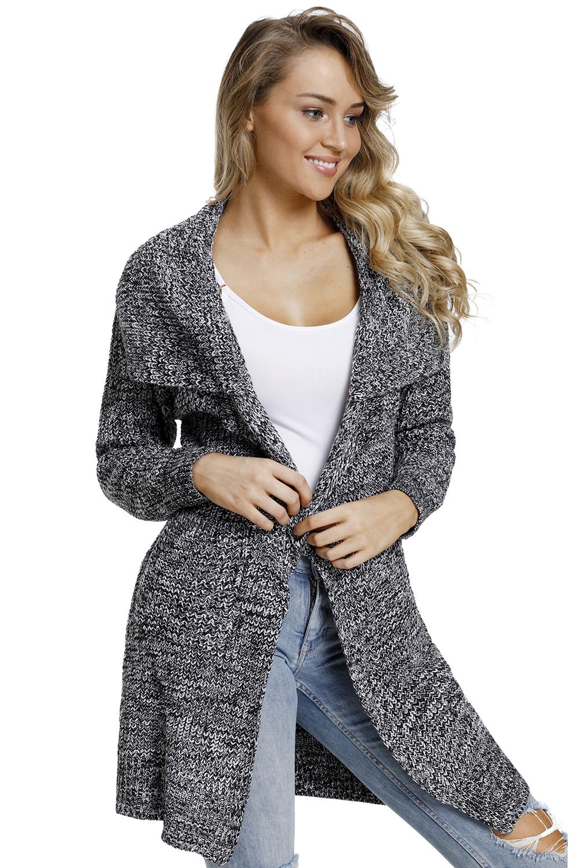 灰色开襟长袖有口袋中长款女式针织开衫外套 LC27835