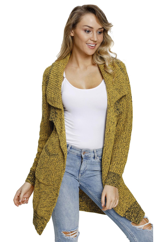 黄色开襟长袖有口袋中长款女式针织开衫外套 LC27835