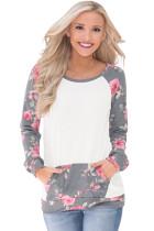 灰色圆领花卉长袖口袋拼接套头卫衣