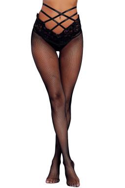 黑色系带高腰蕾丝网格连裤袜