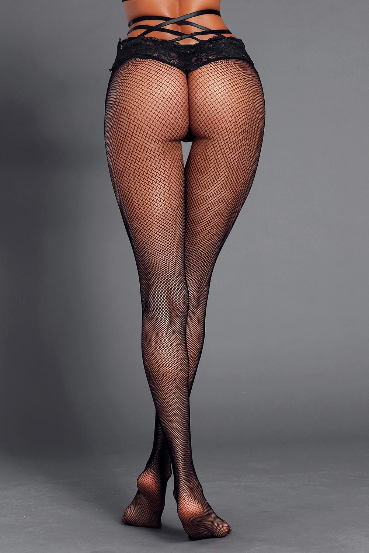 黑色系带高腰蕾丝网格连裤袜 LC790032