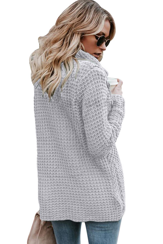 灰色时尚针织纽扣式套头长袖独特交叉设计女式毛衣 LC27689
