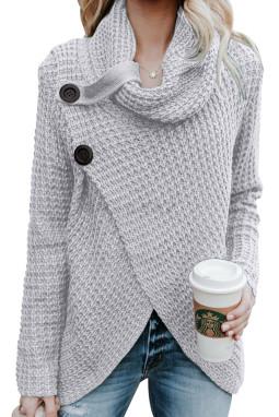 灰色时尚针织纽扣式套头长袖独特交叉设计女式毛衣