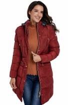 酒红色长袖棉质绗缝按扣和拉链设计连帽长款外套