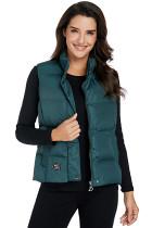 深绿色无袖短款棉马甲外套