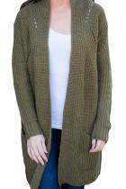 时尚军绿色长袖厚实针织开衫