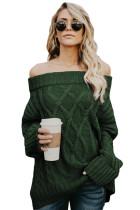 绿色露肩冬季毛衣