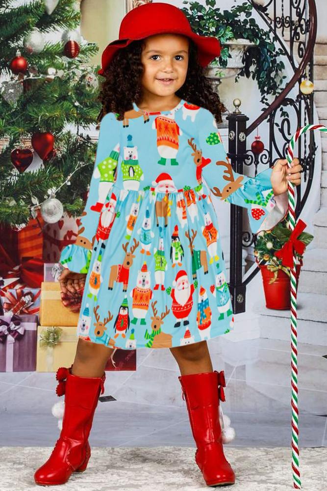 假日朋友圣诞节小女孩连衣裙 TZ22026