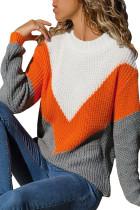 橙色V型条纹微高领白灰色保暖毛衣