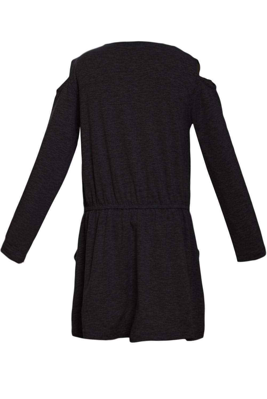 黑色圆领长袖冷肩女孩连衣裙 TZ22024
