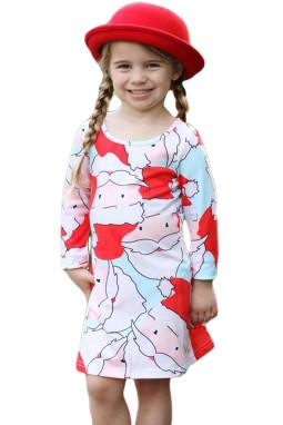 浅蓝色圣诞老人印花女孩圣诞连衣裙