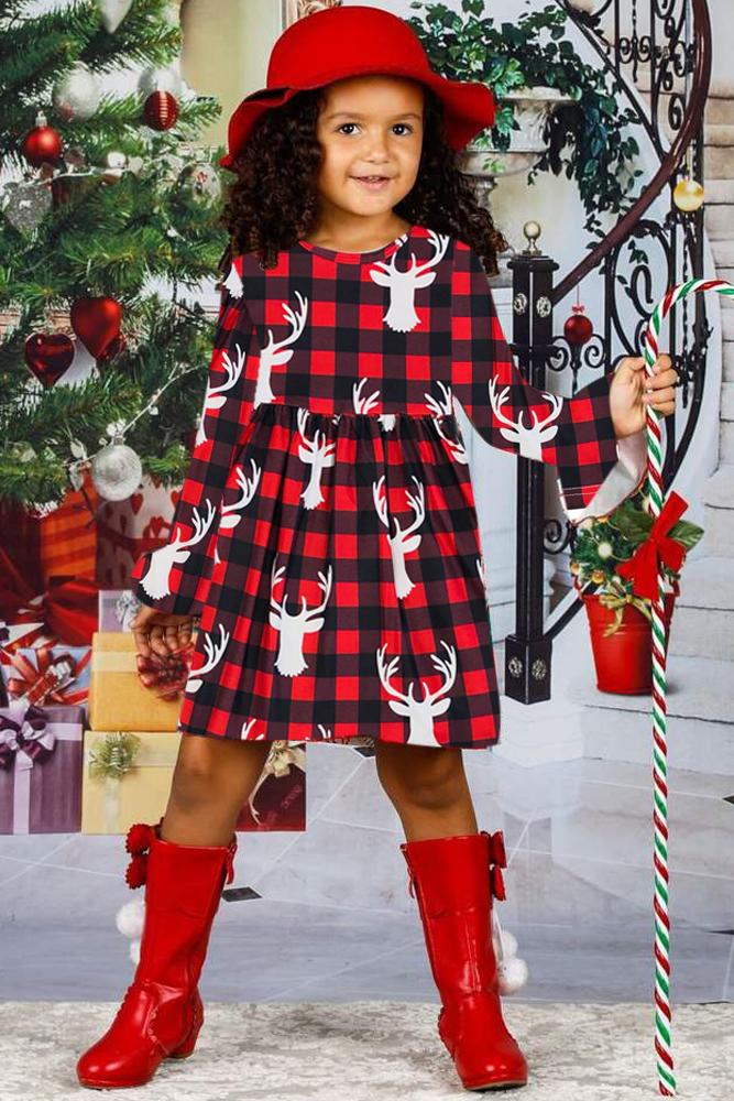 驯鹿格子图案圣诞节小女孩连衣裙 TZ22026