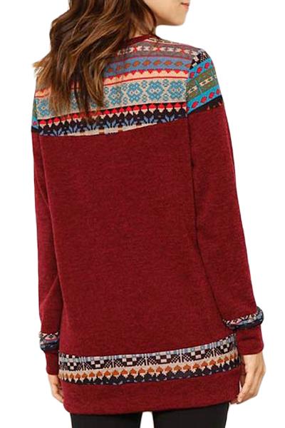酒红色别致几何图案细节休闲毛衣 LC251623