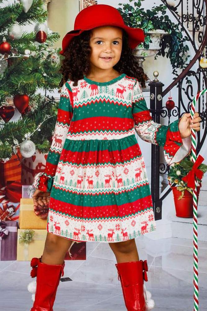 驯鹿图案色块条纹圣诞节小女孩连衣裙 TZ22026