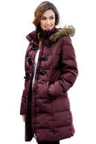 酒红色套环扣绗缝女士冬季外套