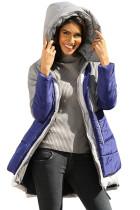灰蓝撞色拼接2合1外观时尚绗缝夹克