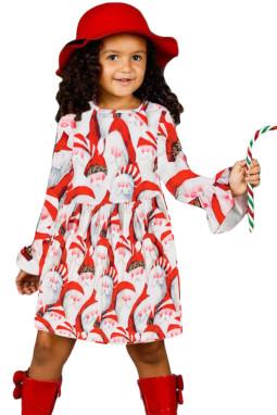 圣诞老人印花圣诞节小女孩连衣裙