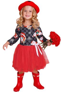 黑红圣诞老人雪花图案圣诞节小女孩A字连衣裙礼服
