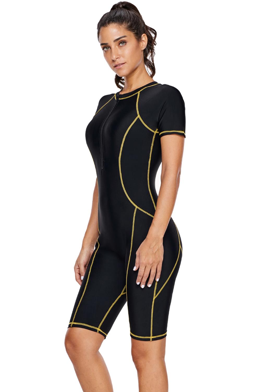 时尚黄色饰边正面拉链一体式冲浪潜水服 LC410893