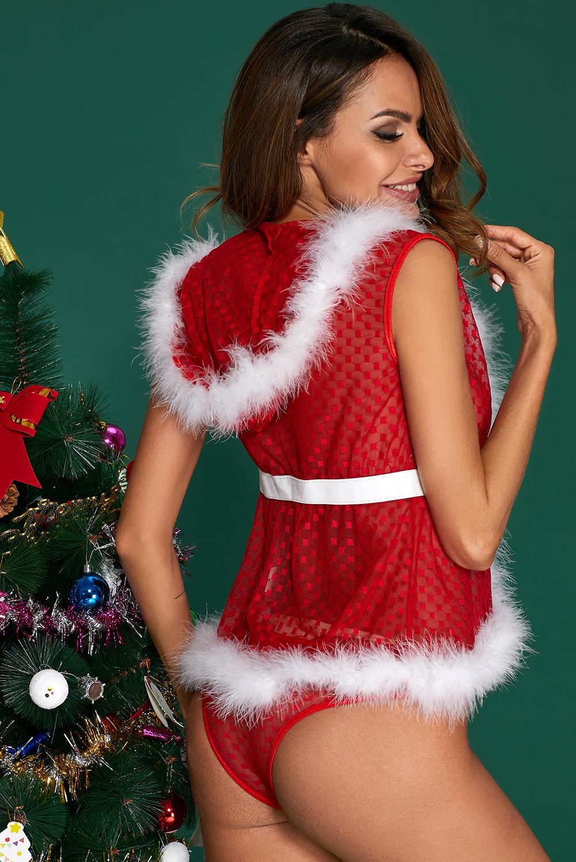毛绒饰边连帽背心透明红色2件套圣诞套装 LC720002