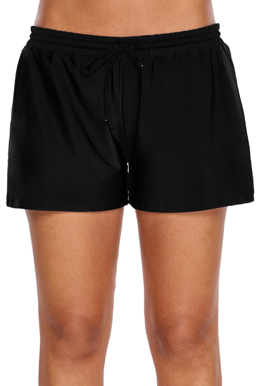 女式黑色弹性抽绳游泳短裤 LC410833