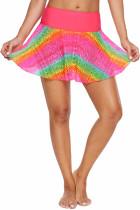 彩虹色蕾丝喇叭式松紧腰身游泳裙