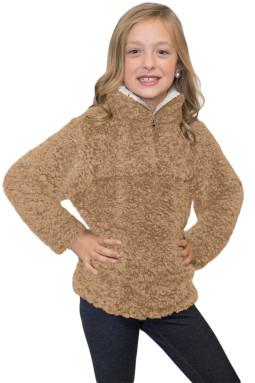 摩卡色奢华绒毛套头衫夏尔巴女孩运动衫