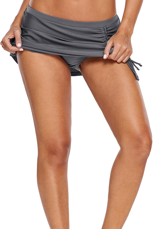 灰色透气褶边细节泳裙 LC410846