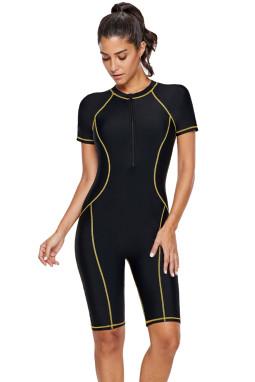 时尚黄色饰边正面拉链一体式冲浪潜水服