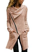 女式卡其色拉链披肩领夹克外套