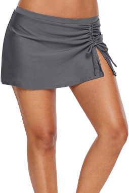 灰色透气褶边细节泳裙