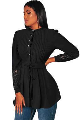 黑色细褶衣身蕾丝拼接长袖上衫