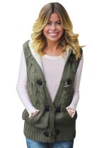 绿色电缆针织连帽毛衣背心外套