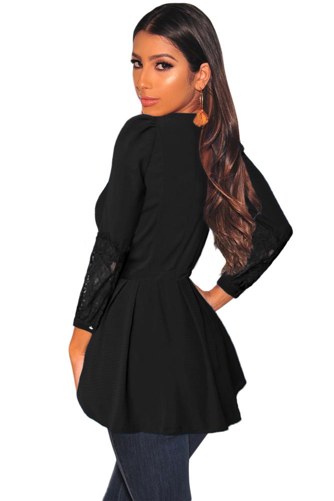 黑色细褶衣身蕾丝拼接长袖上衫 LC251732