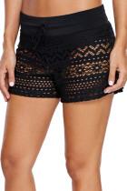 黑色镂空蕾丝游泳短裤
