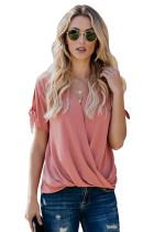粉色魅力V领系带袖女式衬衫