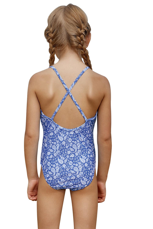 蓝色精美印花荷叶边交叉后背小女孩连体泳装 TZ410042