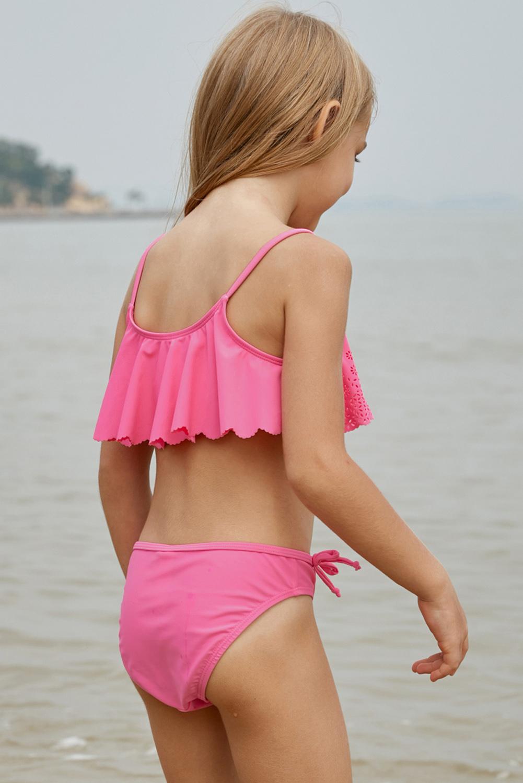 粉红色镂空荷叶边叠层小女孩两件套比基尼 TZ410035