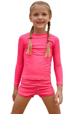 玫红色长袖防晒水上运动小女孩泳装