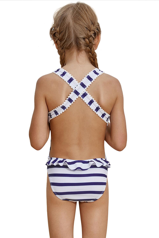 海军蓝条纹交叉后背小女孩连体泳装 TZ410054